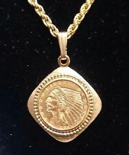 14k Solid Bezel Frame set 1/4 oz $ 2.50  American Indian Head Eagle Gold Pendant