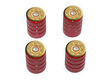 12 Gauge Bullet Shell (Image Only) Ammo Tire Rim Wheel Valve Stem Caps Red