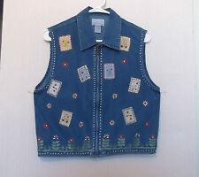 Christopher & Banks Size M Zip Front Denim Vest w/Floral Embroidery & Appliques