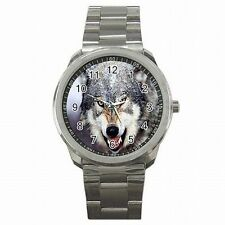 Silver Wolf Wild Animal Wolves Accessory Stainless Steel Sport Watch New!