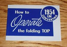 1954 Chevrolet GM Convertible Folding Top Owners Operators Manual 54 Chevy