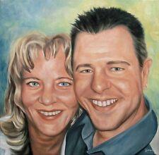 Jannys ART - Doppel Portrait vom Foto - 30x30 Gemälde, Öl auf Leinwand, Malerei