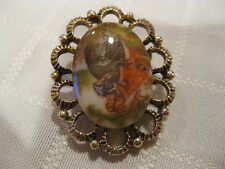 MW: VINTAGE WOMEN'S GOLD & ENAMELED CAMEO VICTORIAN MAN & WOMAN PIN BROACH