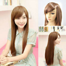 Women Girls Sexy Fashion Style Straight Long Brown Hair Full Wig Cosplay Party
