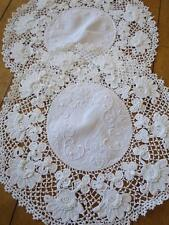 Antique Intricately Hand Worked Irish Crochet Linen Doilies Mats