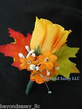 Fall Wedding Groom Dewdrop Orange Yellow Rose Flower Boutonniere Autums Leaves