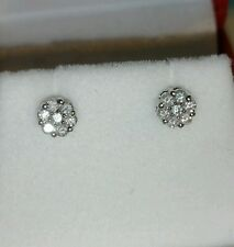 Ross Simons 14k White Gold Diamond cluster flower daisy style Stud Earrings $465