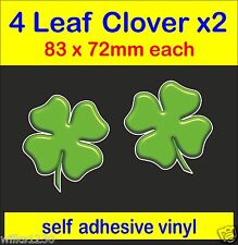 2 x Lucky four leaf clover shamrock bumper Stickers self adhesive Vinyl Decals