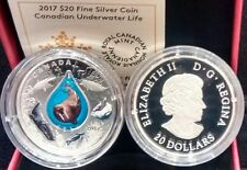 2017 Canadian Underwater Life $20 1OZ Pure Silver Coin Canada 3D Water Droplet.