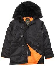 NEW ALPHA INDUSTRIES N3B SLIM FIT PARKA BLACK ORANGE M JACKET INSULATED COYOTE