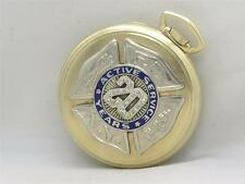 FDNY NEW YORK FIRE SOLID 14K GOLD, DIAMOND & ENAMEL PRESENTATION  POCKET WATCH