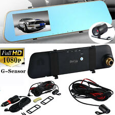 "4.3"" HD 1080P Dual Lens Car Rearview Mirror DVR Camera Dash Cam Recorder Monitor"