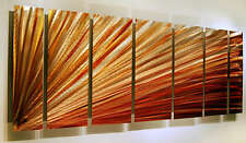 Large Amber Modern Metal Wall Art Painting - Contemporary Decor by Jon Allen