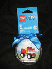 Holiday 2014  LEGO CITY FIRE TRUCK blue BAUBLE Ornament 34 pcs SAME DAY SHIPPING