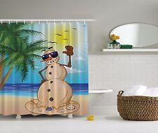 Holiday Winter Snowman Sandy Beach Tropical Christmas Shower Curtain