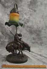 CROSA 1997 LAMP NATIVE ON HORSEBACK WITH GLASS TULIP SHADE SOUTHWEST DECOR