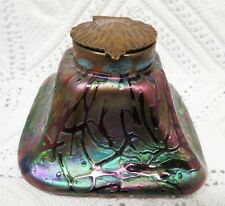 LOETZ EARLY THREADED IRIDESCENT ART GLASS INKWELL WITH INSERT LATE 19TH CENTURY