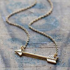 Sideways Arrow Necklace - 24k Gold Plated Brass Necklace - Archery Bow Jewelry