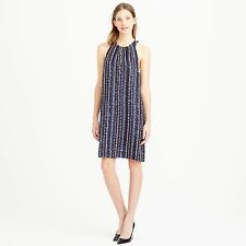NWT $995 J CREW COLLECTION STACKED SEQUIN SHIFT DRESS NAVY BEADED SILK 00 XXS XS