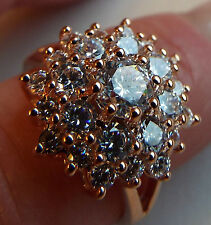 Diamonique 3.5ct tw Star Burst cluster Rose Gold plated Ring Silver size M