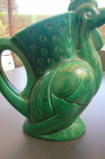 FRENCH MAJOLICA  ST CLEMENT LUNEVILLE GREEN  HEN PITCHER 1900'