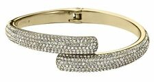 New Michael Kors MKJ3666710 Gold Tone Pave Crystals Hinged Bangle MKJ3666
