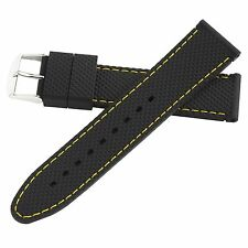 Hadley-Roma 22mm Yellow Mens Stitch Silicone Diver Watch Band Strap 22mm MS3315