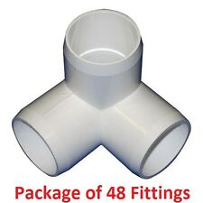"1"" Furniture Grade 3-Way Corner Elbow PVC Fitting - 48 Pack"