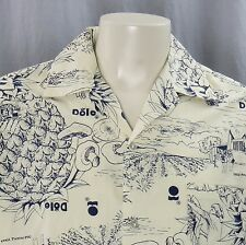VTG Hilo Hatties Dole Pineapple Stand Uniform Hawaiian Shirt XL Mushrooms Aloha