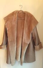 Jaeger Tan Leather Shearling sheepskin Reversible Coat Jacket Sz Small