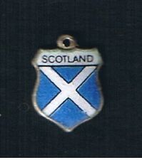 VINTAGE SCOTLAND ENAMEL TRAVEL SHIELD SILVER CHARM