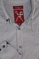 Marc Ecko Men's Ox Blood & White Check Western Style Cotton Casual Shirt S Small