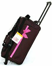 "26"" 50LB BLACK WITH PINK POLKA DOT ROLLING WHEELED DUFFLE BAG/LUGGAGE/SUITCASE"