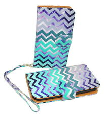Teal & Purple Chevron Leather Case for LG Optimus Fuel L34C / Zone 2 - Kickstand