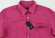 Men's HUGO BOSS Fuchsia Pink Linen OMAR Shirt Small S NWT NEW $185+ Awesome!