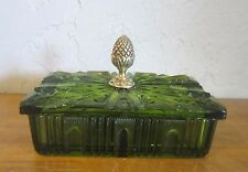 Vintage 1950's Green Glass Art Deco  Pine Cone Cigarette Box