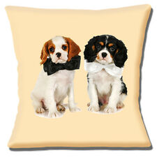 "NEW CUTE COUPLE of KING CHARLES CAVALIER SPANIELS PHOTO 16"" Pillow Cushion Cover"