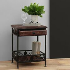 Onlineshoppee Wooden And Iron End Table Walnut And Black(LxBxH-14.5x14.5x19)Inch