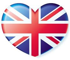 British Union Jack Heart Flag adhesive transparent sticker for car cycle bike