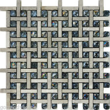 SAMPLE- Gray Natural Stone Glass Pattern Tile Wall Floor Kitchen Backsplash Pool