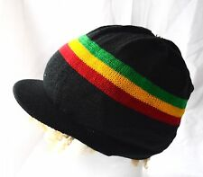 Rasta Strick Mütze mit Schild_Drealock hat knitted with visor_Natty Cap_Reggae