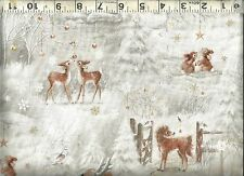 Quilting Treasures ~  Winter Snow Deer Pony Bunny ~ 100% Cotton Quilt Fabric BTY