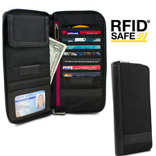 Ladies Wallet women Organizer hand clutch travel bag w/ RFID protection Black