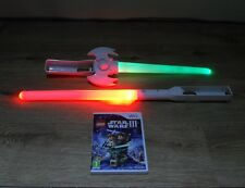 LIGHT SABERS x 2 + LEGO STAR WARS III- 3 -THE CLONE WARS=NINTENDO Wii=LIGHTSABER
