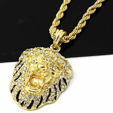 Mens 14k Yellow Gold Plated 24in Iced Out Lion King Face Rope Chain Necklace 4MM