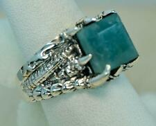 DRAGON DESIGN NATURAL AQUAMARINE 925 SILVER MENS RING SIZE 11 #r0066 H556