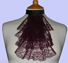 Ladies purple lace jabot / cravat costume Victorian Edwardian Steampunk