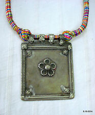 vintage antique tribal old silver necklace amulet pendant gypsy jewelry
