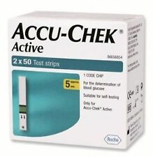 Accu-Chek Active 100 Test Strips, 2x50 Strips with 1 Code Chip | Expiry:03/2018