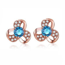 18K Rose Gold Plated 3 Hoop Swirl Blue Crystal CZ Clover Leaf Stud Earrings 1492